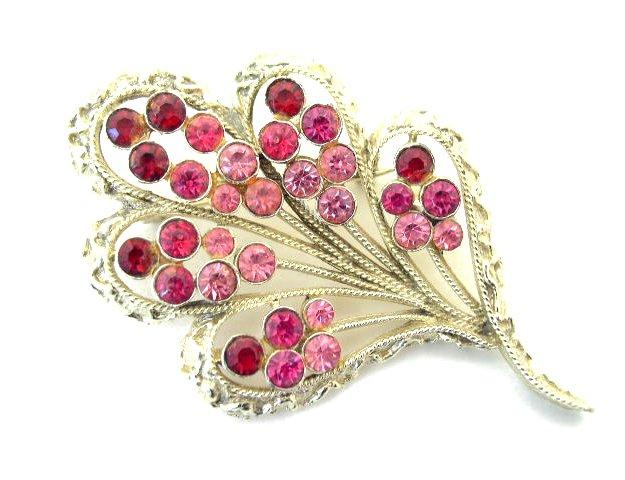 Vtg Hot Pink & Raspberry Rhinestone Brooch Signed Coro