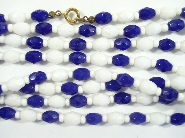 "Vintage 47"" Long Blue & White Glass Bead Necklace 1940s"