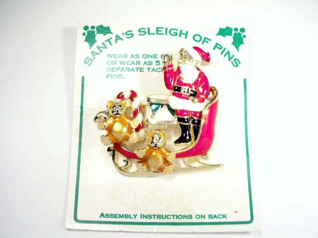 Vtg Enameled 6 Pc Christmas Santa's Sleigh of Pins