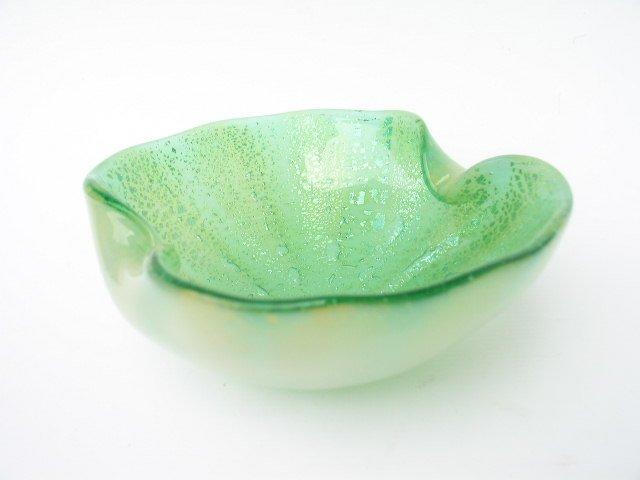 Murano Glass Sommerso Aventurine Bowl Green & Silver