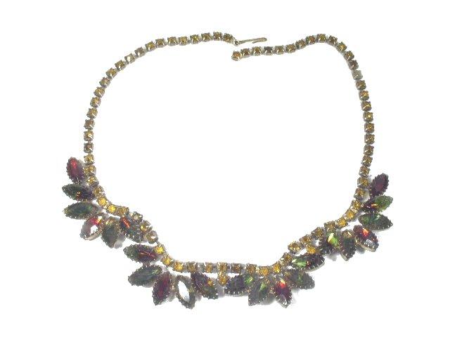 Vtg Bi-Color Marquise Cut Rhinestone Fringe Necklace