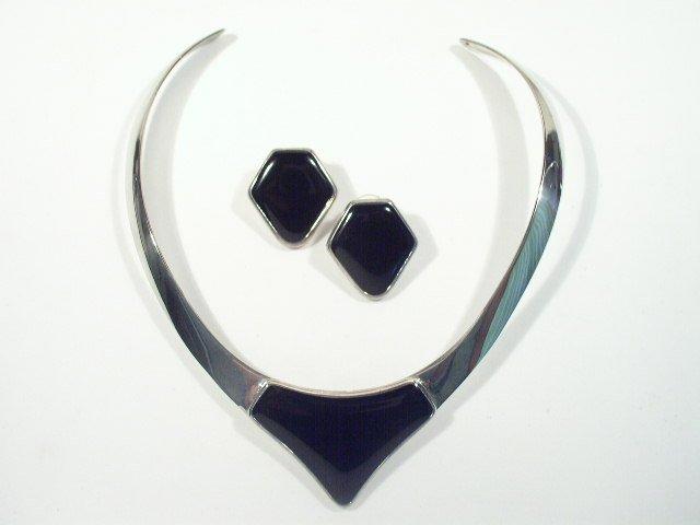 Mid Century Modern Silver Tone Necklace Earrings Set
