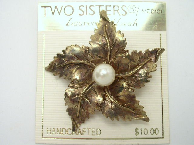 Gold Tone & Faux Pearl Fall Leaf Brooch Two Sisters