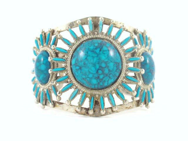 Vtg Faux Turquoise Silver Tone Southwestern Bracelet