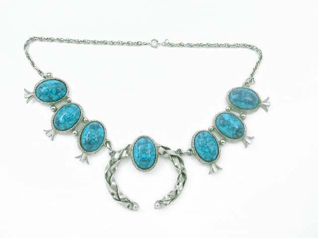 Southwestern Faux Turquoise Silver Tone Naja Necklace
