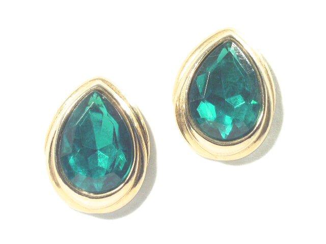 Huge Vintage Emerald Green Rhinestone Earrings Clip