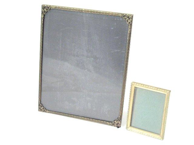Antique Deco Era Bronze Tone Easel Picture Frames