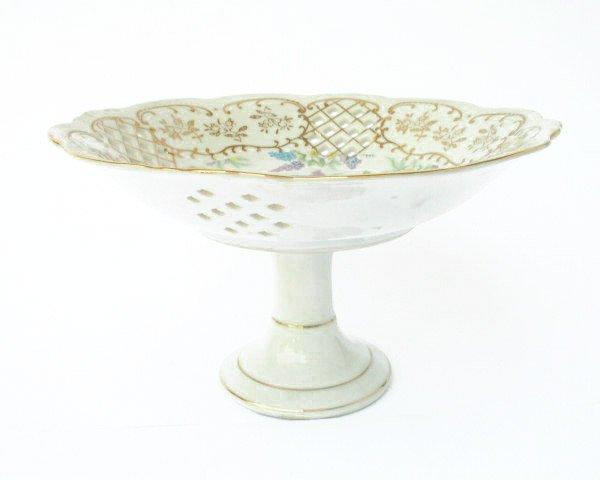Vtg Ornate Lefton Pierced Porcelain Compote Footed Dish