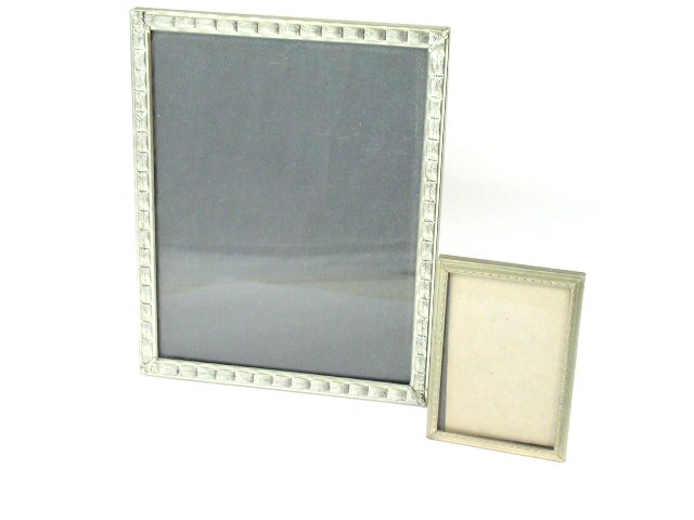 Antique Deco Era Silver Tone Easel Picture Frames