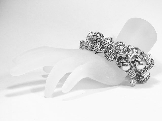 Sparkling Silver Tone Filigree Bead Coiled Bracelet