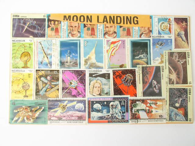Lot of 28 Assorted Moon Landing Stamps