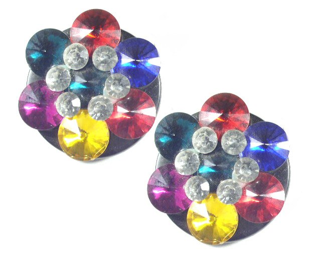 Vintage Huge Colorful Acrylic Rhinestone Diva Earrings