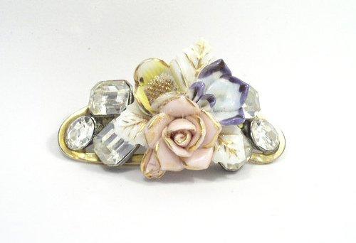 Vint Porcelain Flowers & Bright Clear Rhinestone Brooch