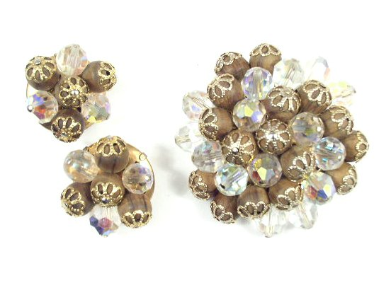 Rare Vtg A B Crystal & Wood Bead Brooch & Earring Set