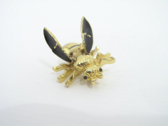 Vtg Gold Tone Enameled Tremblant Trembler Bee Brooch