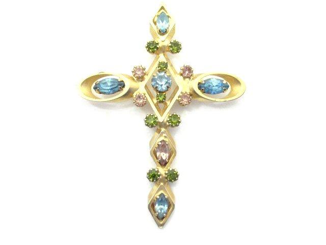 Vtg Mid Century Rhinestone Cross Pendant Necklace