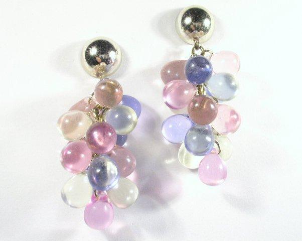 Vtg Long Pastel Acrylic Dangling Bead Cluster Earrings
