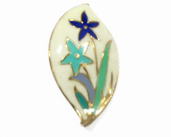Mid Century Enameled Flowers Gold Tone Pendant / Brooch