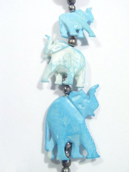 Vintage Hand Made Carved Elephant & Bead Necklace