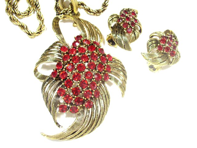 Red Mid Century Rhinestone Necklace & Earrings Signed