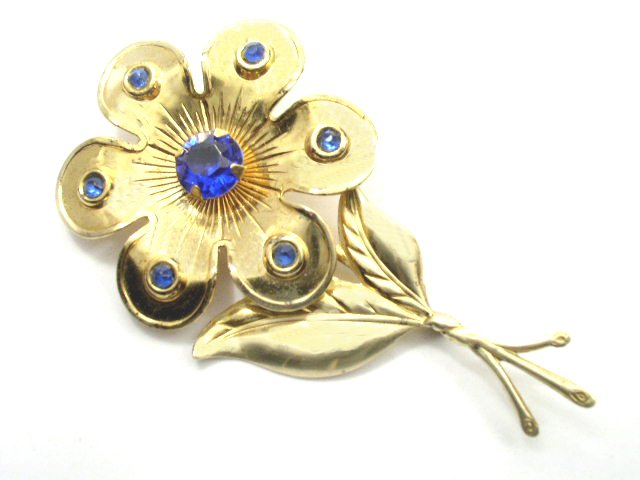 Vintage Large Golden & Blue Rhinestone Flower Brooch