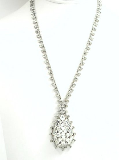 Vintage Fringe Domed Rhinestone Necklace Earring Set