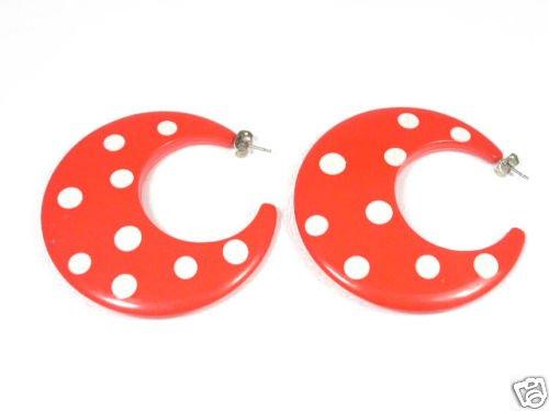 Vintage Big Bright Red & White Polkadot Earrings