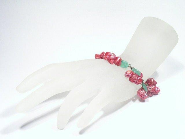 Rare Antique Tinted Mini Shell & Glass Leaves Bracelet