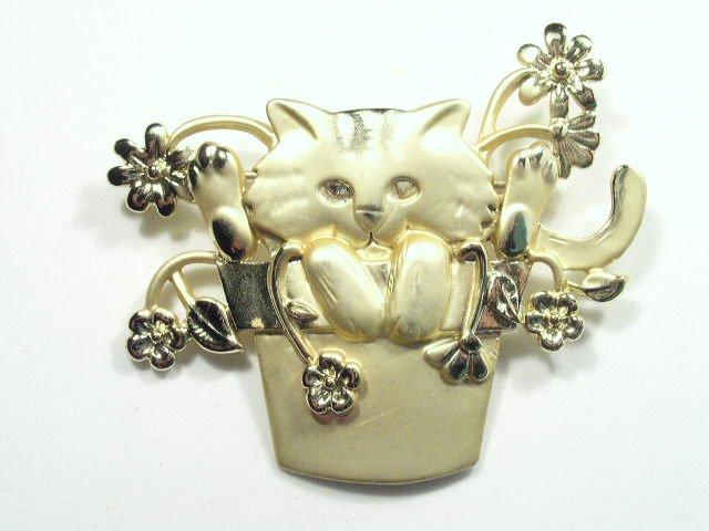 Vtg AJC Cat & Pot of Flowers Gold Tone Brooch