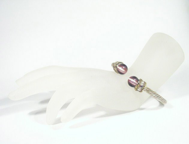 Art Glass Purple Amethyst Tigers Eye Torque Bracelet