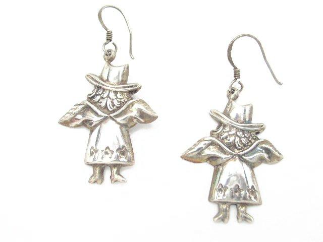 Vintage Sterling Silver Lady / Angel Earrings Thailand