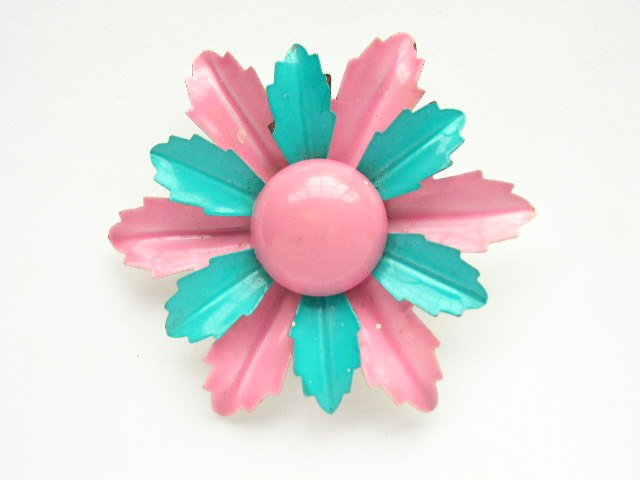 Mid Century Mod Turquoise Hot Pink Enameled Flower Pin