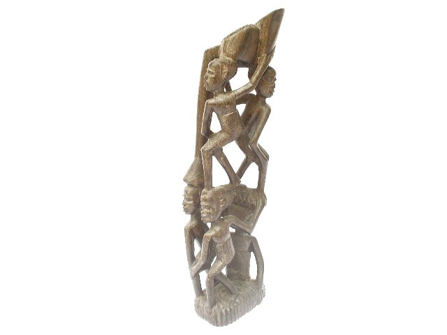 Ornate African Hand Carved Heavy Hard Wood Sculpture