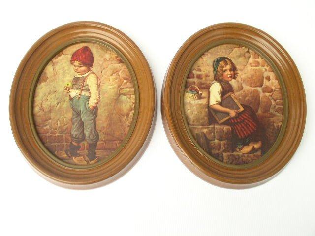 Vintage Pair Oval Wood Frames Hansel & Gretel Prints
