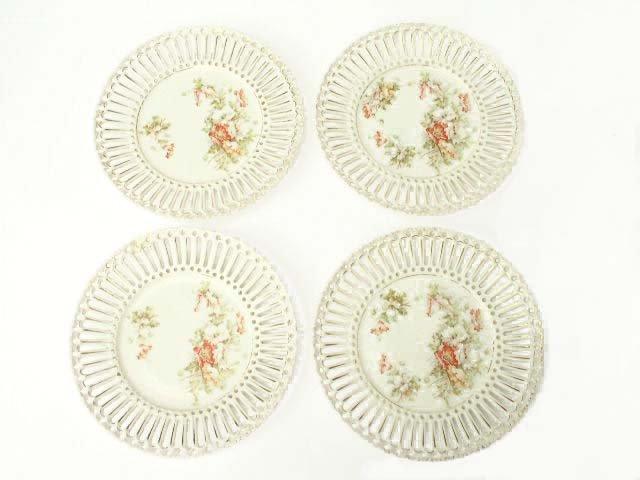 4 Antique Reticulated Porcelain Dessert Plates Poppies