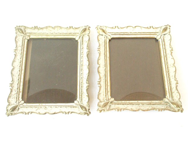 Vtg Pr White Gold Convex Glass Wall Table Style Frames