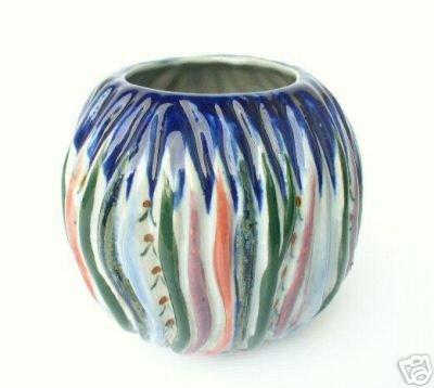Vintage Heavy Art Pottery Ikebana Flower HP Japan Vase