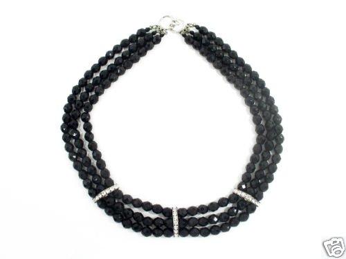 Vintage 3 Strand Black Glass Crystal Rhinestone Necklace