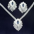 Vintage Brilliant Clear & Blue Rhinestone Necklace Earring Set