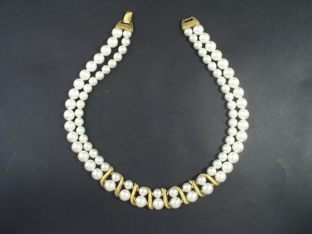 Vintage Two Strand Faux Pearl Choker Necklace Napier