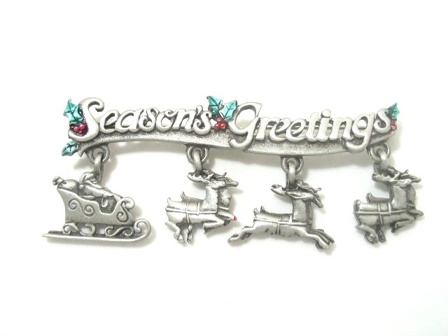 Vintage Seasons Greetings Enameled Christmas Brooch by JJ