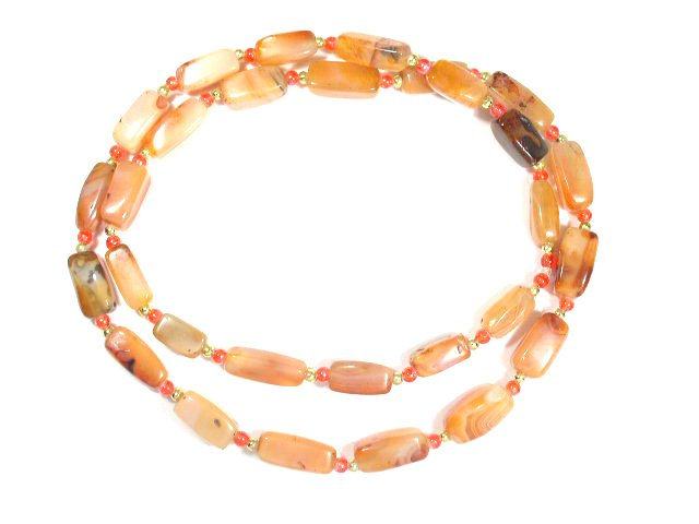 Vtg Natural Stone Necklace Light Carnelian 1950s