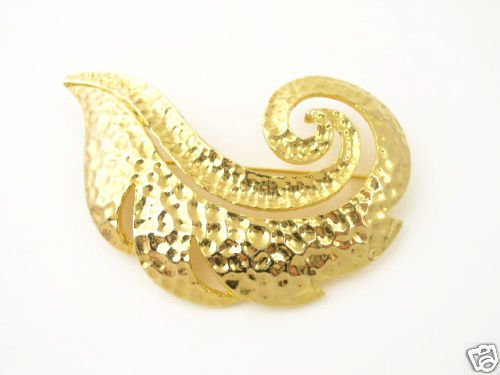 Vintage Huge Gold Tone Swirling Feather Brooch