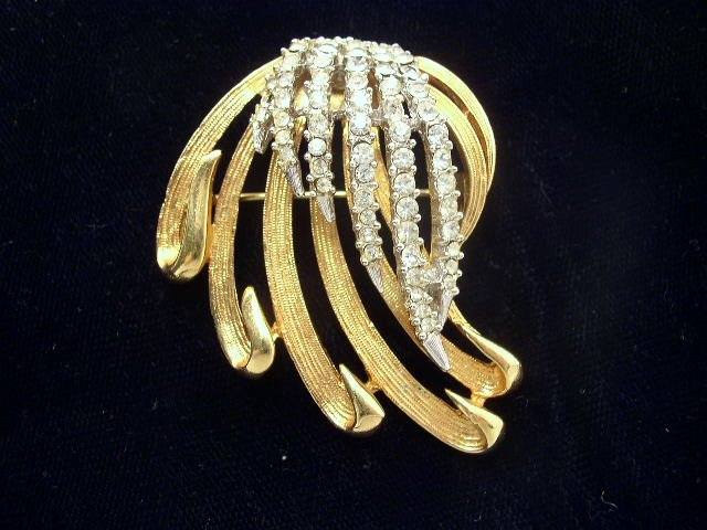 Mid Century Modern Gold Tone Rhinestone Ribbons Brooch