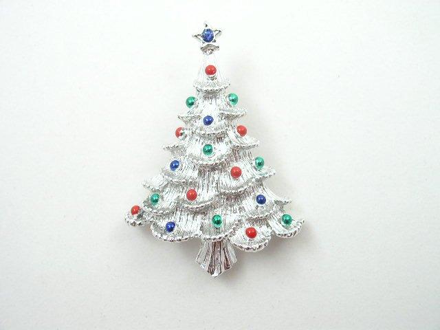 Vintage Enameled Rhinestone Christmas Tree Brooch