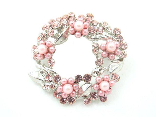 Vintage Pink Faux Pearl & Rhinestone Brooch
