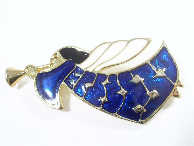 Mid Century Modern Enameled Christmas Angel Brooch