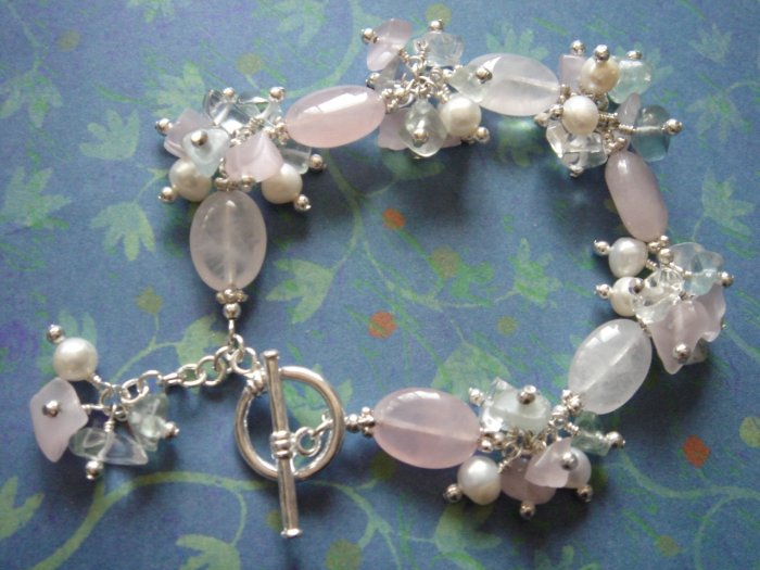 Freshwater Pearl, Rose Quartz and Fluorite Sterling Silver Bracelet