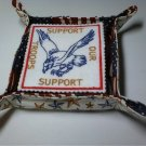 SUPPORT OUR TROOPS HANDMADE EMBROIDERED FELT 6 PIECE COASTER SET WITH FLAG AND STARS HOLDER