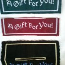 HANDMADE MACHINE EMBROIDERED 3 pc FELT GIFT BAG TOPPERS THE EASY WAY TO WRAP GREEN RED NAVY BLUE